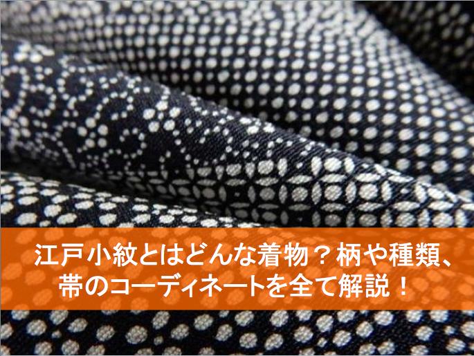 江戸小紋とはどんな着物?柄や種類、帯のコーディネートを解説