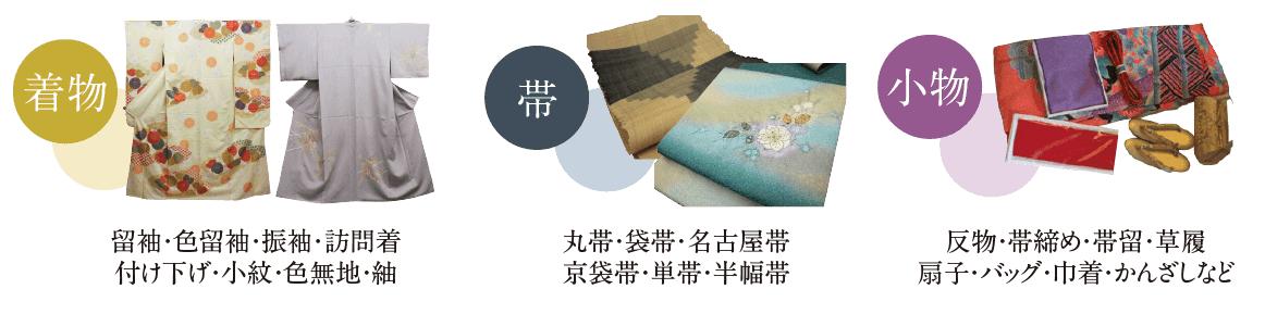 福ちゃんの買取対象の着物や帯