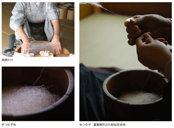結城紬の糸つむぎ