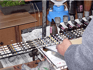 小千谷紬の絣作り